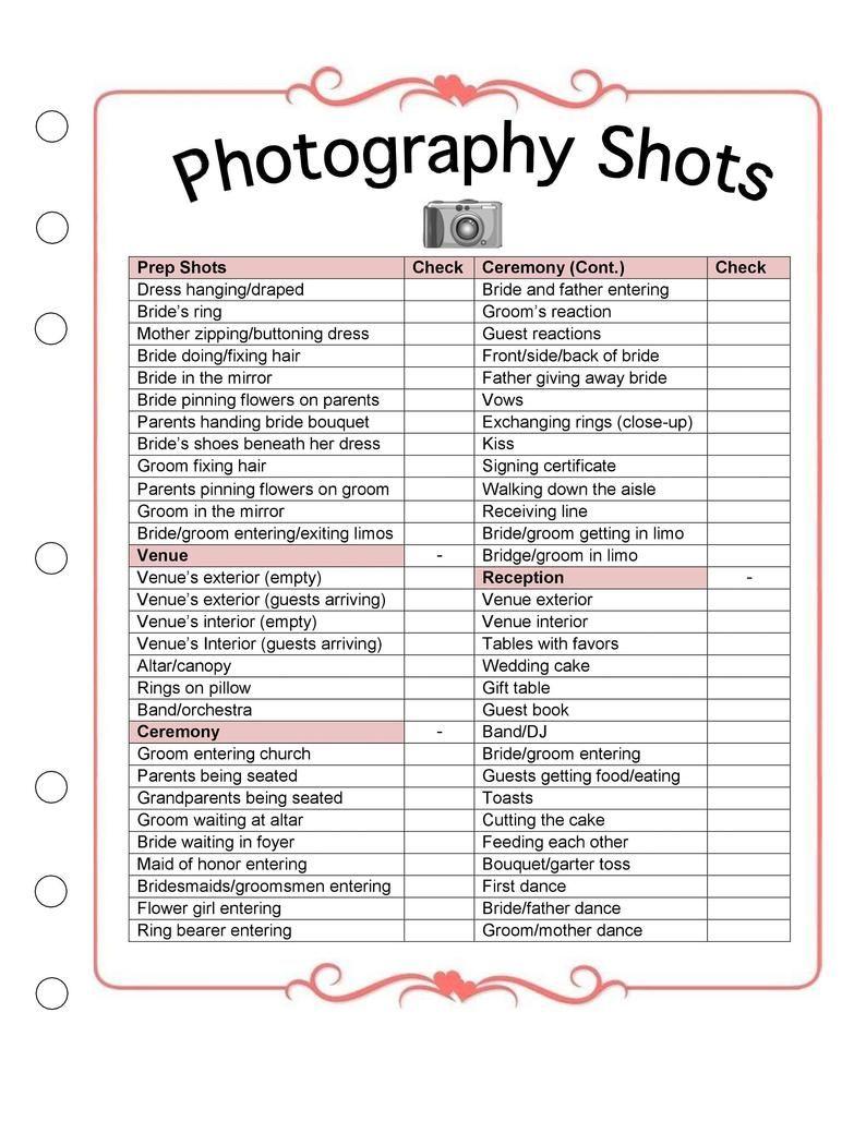 Wedding Photography Checklist Template Wedding Photographer Business Forms Printable Templates For Photographers Wedding Photography List Wedding Photography Checklist Wedding Planner Checklist Wedding to do list template