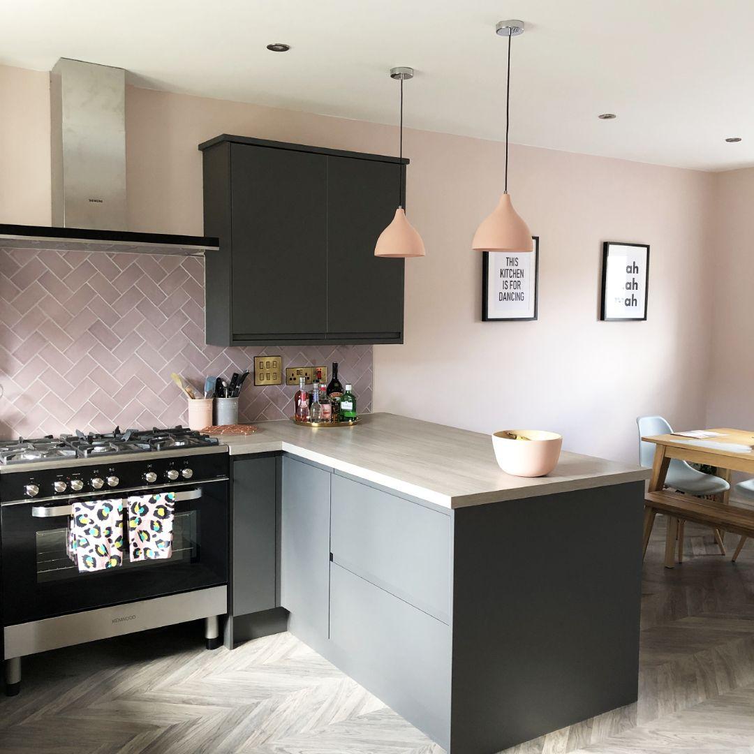 Clerkenwell Super Matt Graphite  Pink and grey kitchen, Grey