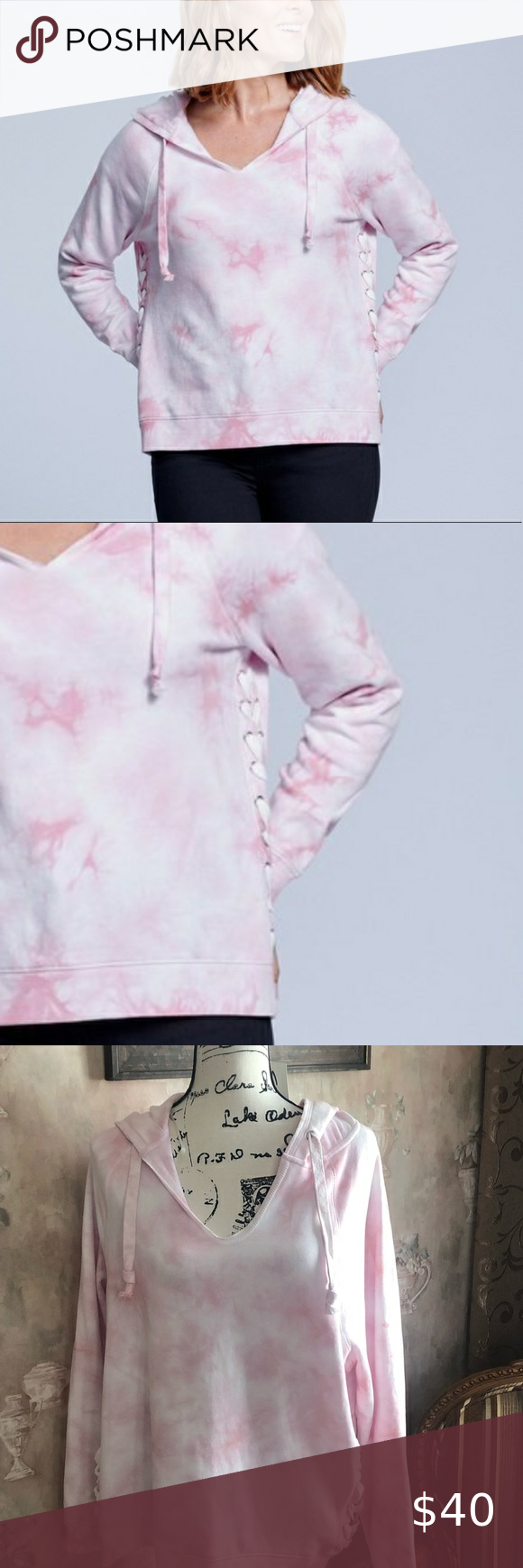Seven 7 Pink Tiedye Lace Up Hoodie Nwt New With Tags Seven Lace Up Tiedye Hoodie Cotton Poly Dolman Sleeve Side Lace Up Clothes Design Fashion Plus Fashion [ 1740 x 580 Pixel ]