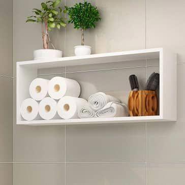Sauder Caraway Etagere Bath Cabinet Soft White Finish Small Bathroom Decor Bathroom Decor Home Decor