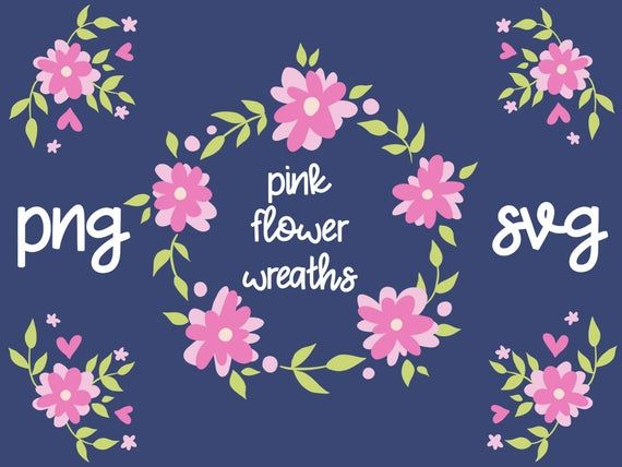 Photo of PINK FLOWER CRATE, hand drawn wreaths, doodle clipart, drawn wreaths, PNG, SVG, vector wreaths, wedding, cute wreaths, floral frame
