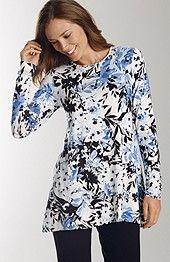 wearever print curved-hem top