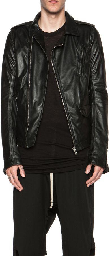 $1,311, Black Leather Biker Jacket: Rick Owens New Stooges Leather Biker Jacket. Sold by Forward By Elyse Walker. Click for more info: https://lookastic.com/men/shop_items/291006/redirect
