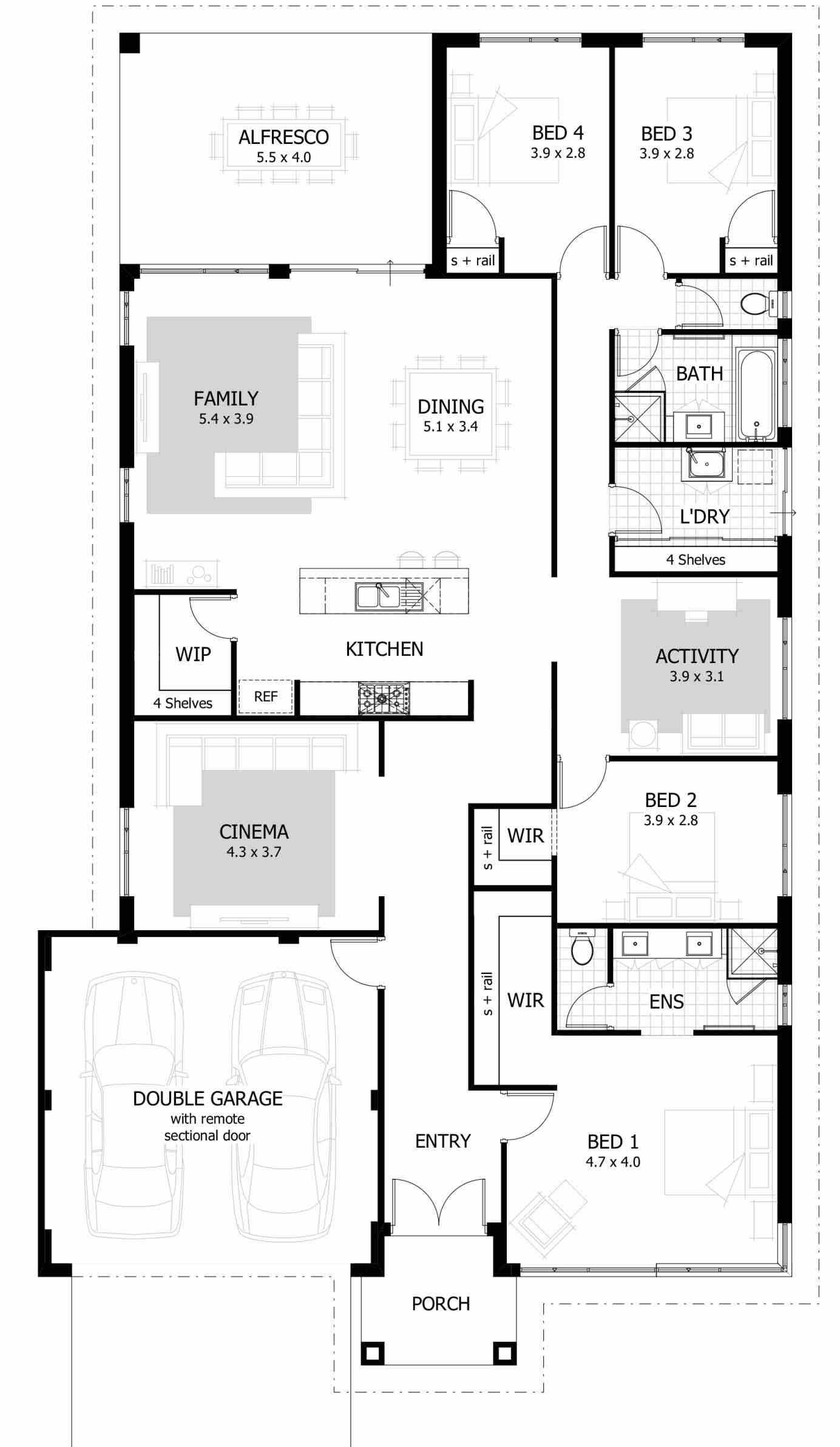 Four Bedroom House Plan 4 bedroom house designs 4