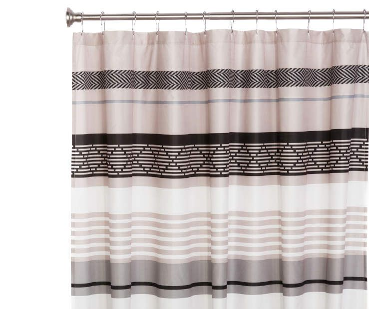 Living Colors Dario Stripe Microfiber Shower Curtain With Images Curtains