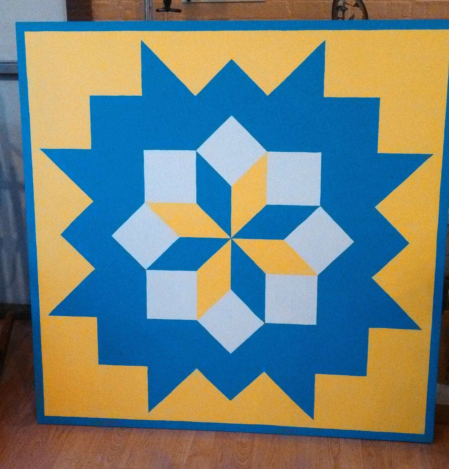 Broken Star Barn Quilt With Swedish Colors Barn Quilt Designs Barn Quilt Barn Quilts