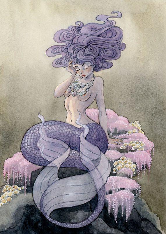 Lavender Mermaid  7.5 x 10 print by reneenault on Etsy, $12.00