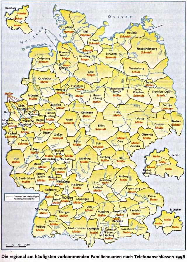 German Surnames Based On 1996 Data This Map Shows The Most Common Surname By Region