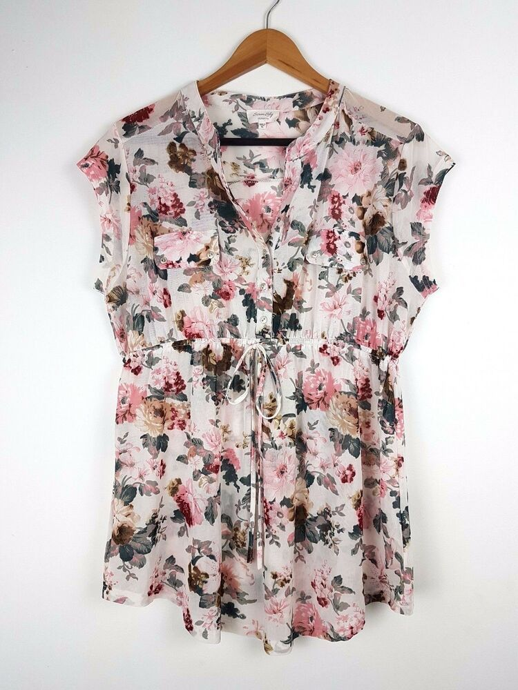 d4daefe6b20146 Siren Lily Maternity Soft Floral Print Shirt Top Blouse Short Sleeve ...