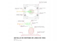 life line system detail roof safe cad files