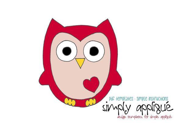 Diy Pdf Valentine Owl Applique Template Pattern By Simplyapplique