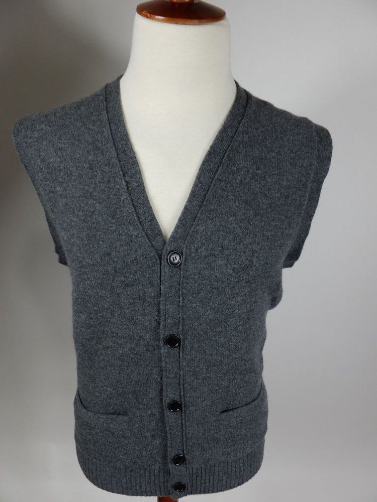 J Crew Fine Lambs Wool Button Down Gray Cardigan Sweater Vest 97478