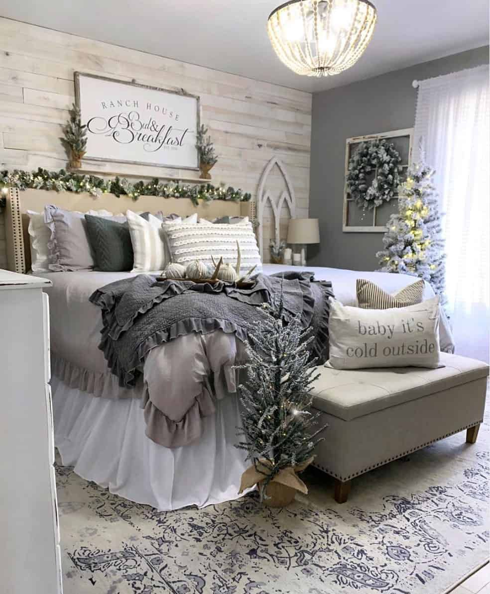 20 Incredibly Inspiring Ideas To Decorate With Flocked Christmas Trees Home Bedroom Home Decor Bedroom Interior Home decor for master bedroom