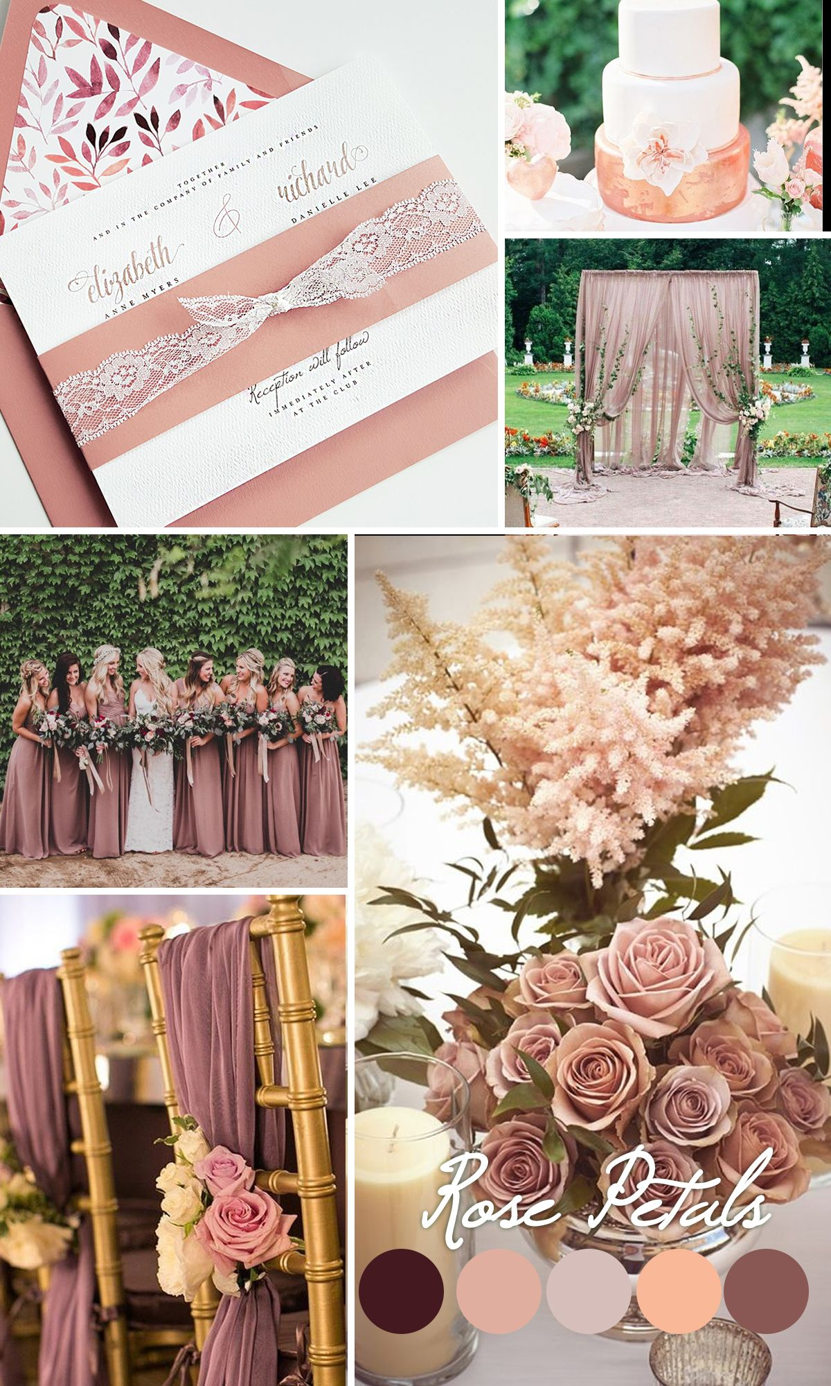 Dusty Rose Wedding Inspiration Mauve Color Trends 2016 Invitation Lace Invite Camellia Design