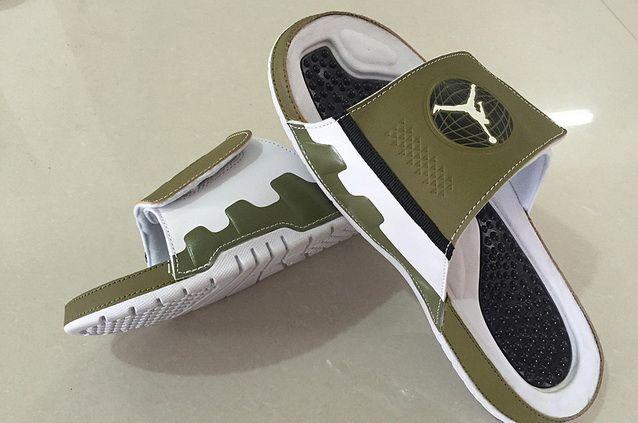 3920e68a21ea Mens New Jordans Slide Sandals 9 Olive Militia Gree White