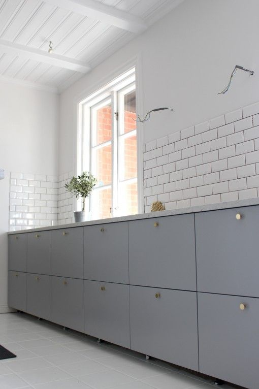 Ikea Veddinge Ikea Veddinge Grey Kitchen Subway Tiles | Inreda Kök, Kök