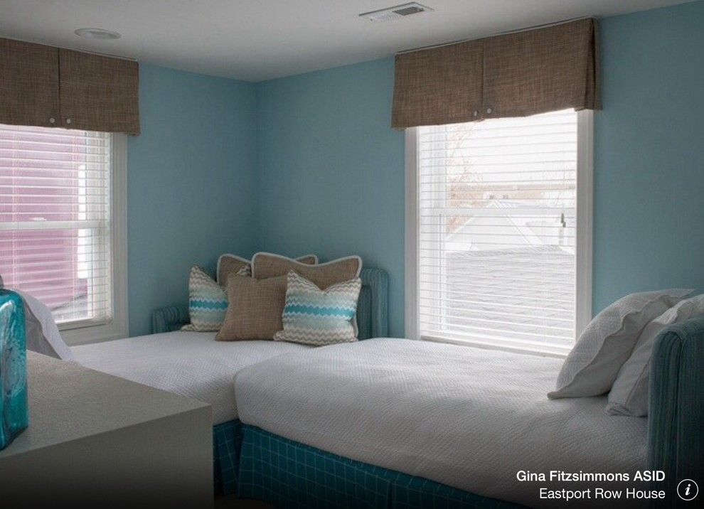 Make an l shape to get two twin beds into a small guest room to facilitate making the beds - Twin bed for small space property ...