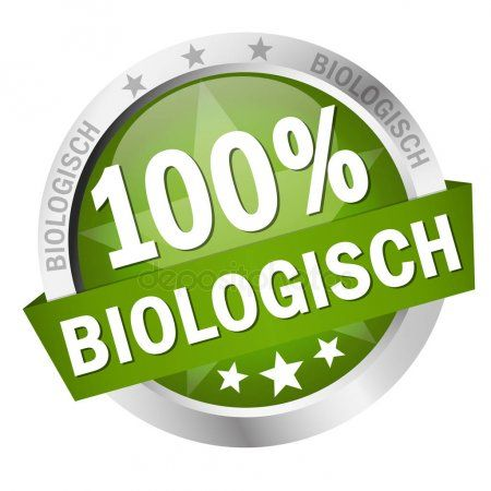 Button with Banner 100 biologisch in german  Stock Vector