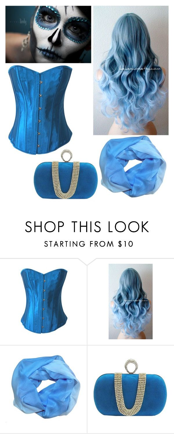 """Blue Sugar Skull Halloween Costume"" by chicastic on Polyvore"