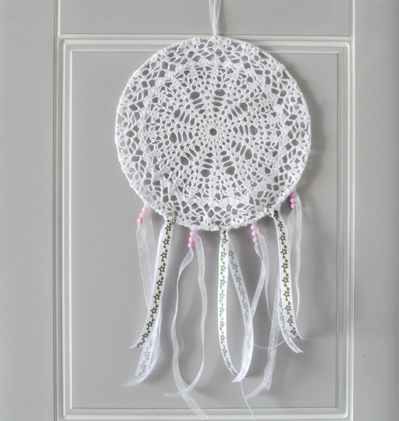 attrape r ves dreamcatcher capteur de r ve 25 cm de diam tre napperon au crochet chambre d. Black Bedroom Furniture Sets. Home Design Ideas