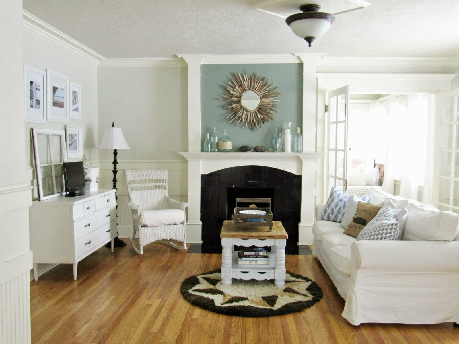The Wicker House Living Room Reveal Paint Color Is Sidewalk By