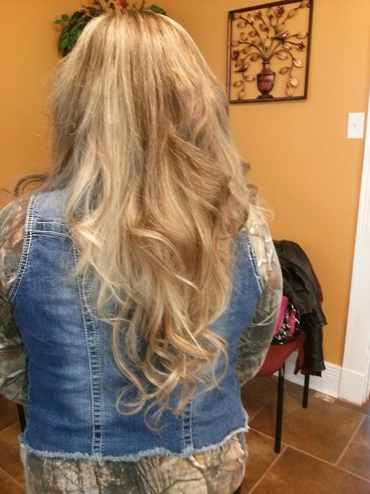 Long locks with extensions and some brown and dark blonde color!