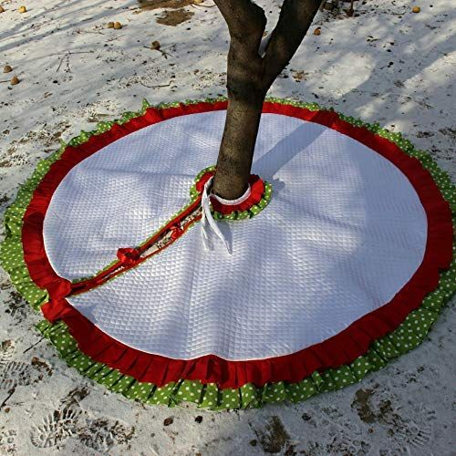 Amazon.com: Quilted Christmas Tree Skirt White with Red and Gren Polka Dot Ruf… | White ...