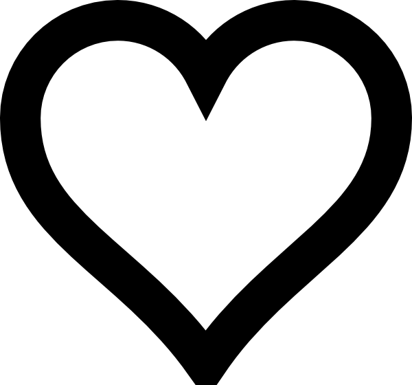 Heart Outline Hi Png 600 560 Heart Clip Art Heart Pictures Black And White Heart