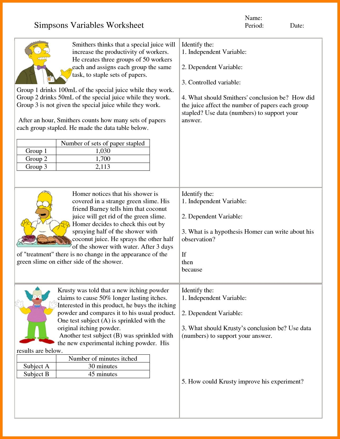 Independent And Dependent Variables Worksheet