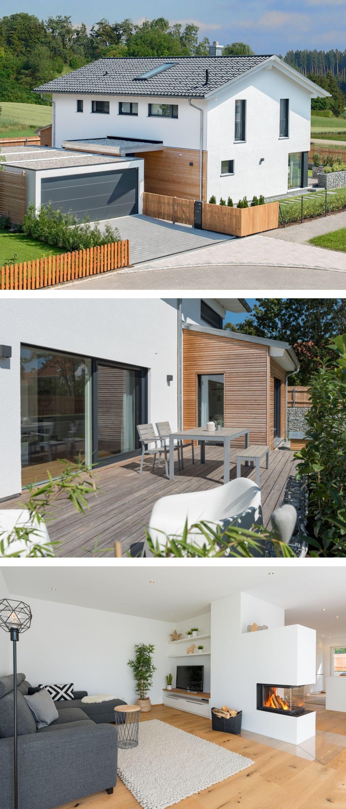 modernes einfamilienhaus mit garage holz fassade satteldach architektur im landhausstil. Black Bedroom Furniture Sets. Home Design Ideas