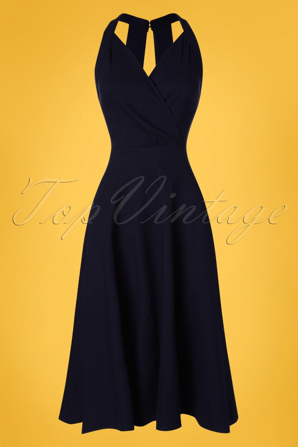 50s hadley plain swing dress in navy | geschwungenes kleid