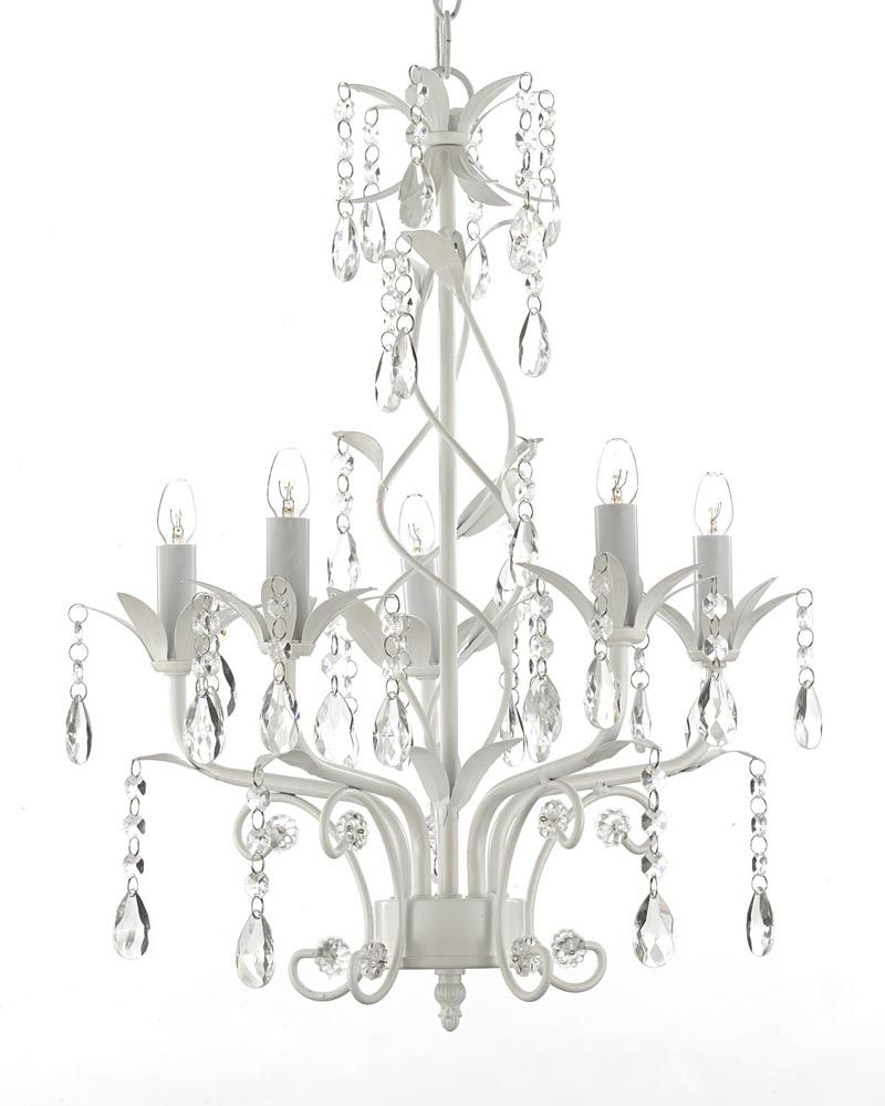S100 scl1529 by gallery 5 lights chandelier with crystals white gallery white wrought iron and crystal chandelier overstock shopping great deals on gallery chandeliers pendants arubaitofo Choice Image