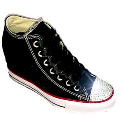 e1bada7454bfb Womens Converse All Stars Black Wedge Heel Bling Crystals Bride Wedding  Shoes