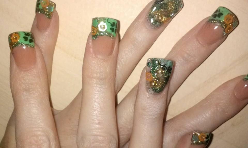 encapsulated acrylic-nail design-green and purple-jewels-nail art-nail  designs-nail patty's-green shamrock - Encapsulated Acrylic-nail Design-green And Purple-jewels-nail Art