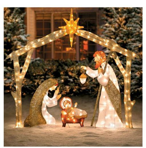 Beautiful lighted outdoor nativity scene lights up a yard for Large outdoor christmas decorations for sale