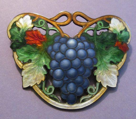 Antique Sterling Silver Cloisonne Grapes Brooch Art Nouveau Enamel Pin Circa 1910