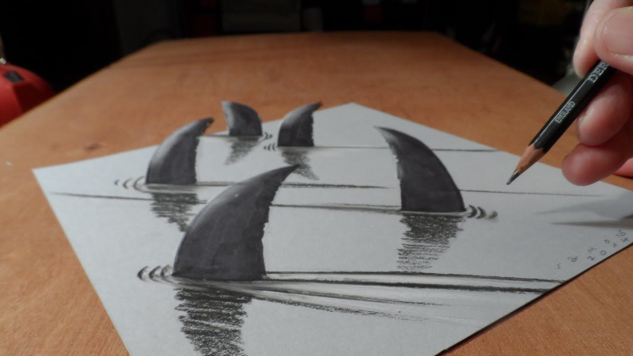 How I Draw 3d Sharks Trick Art Optical Illusion With Images
