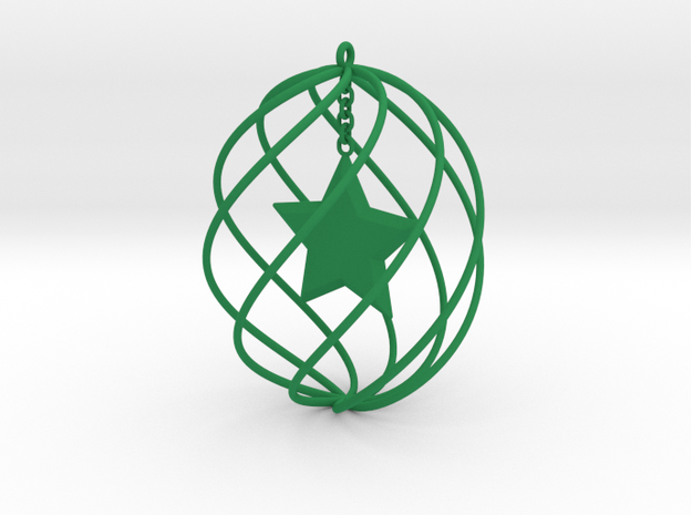 Large Holiday Ornament: Tall Cage with Star Insert 3d printed Accessories For Your Home Green Strong & Flexible Polished
