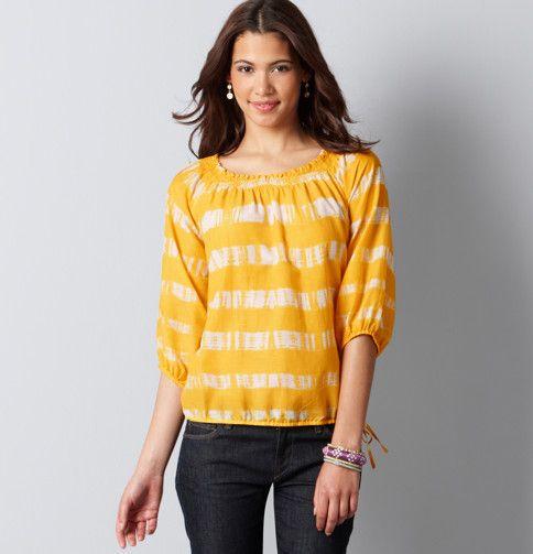Yellow!  Loft - LOFT Tops - Stripe Smocked Neck Peasant Blouse