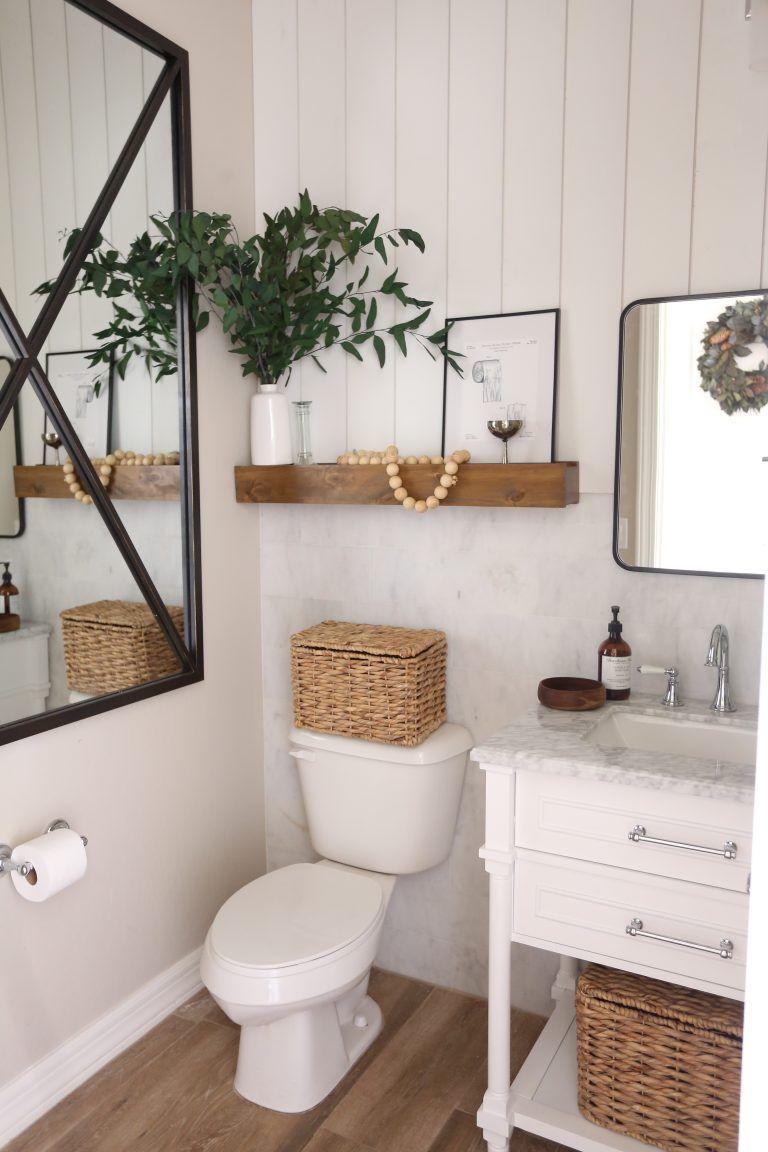 A New Powder Room With Floor Decor Just Destiny Simple Bathroom Decor Restroom Decor Modern Boho Bathroom