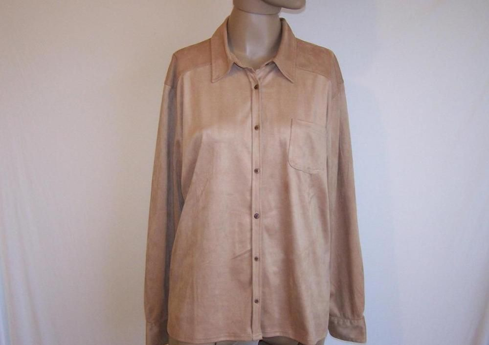 EDDIE BAUER Sz XL Shirt Top Faux Suede Button Front Long Sleeve Soft Chamois NWT #EddieBauer #ButtonDownShirt #Casual