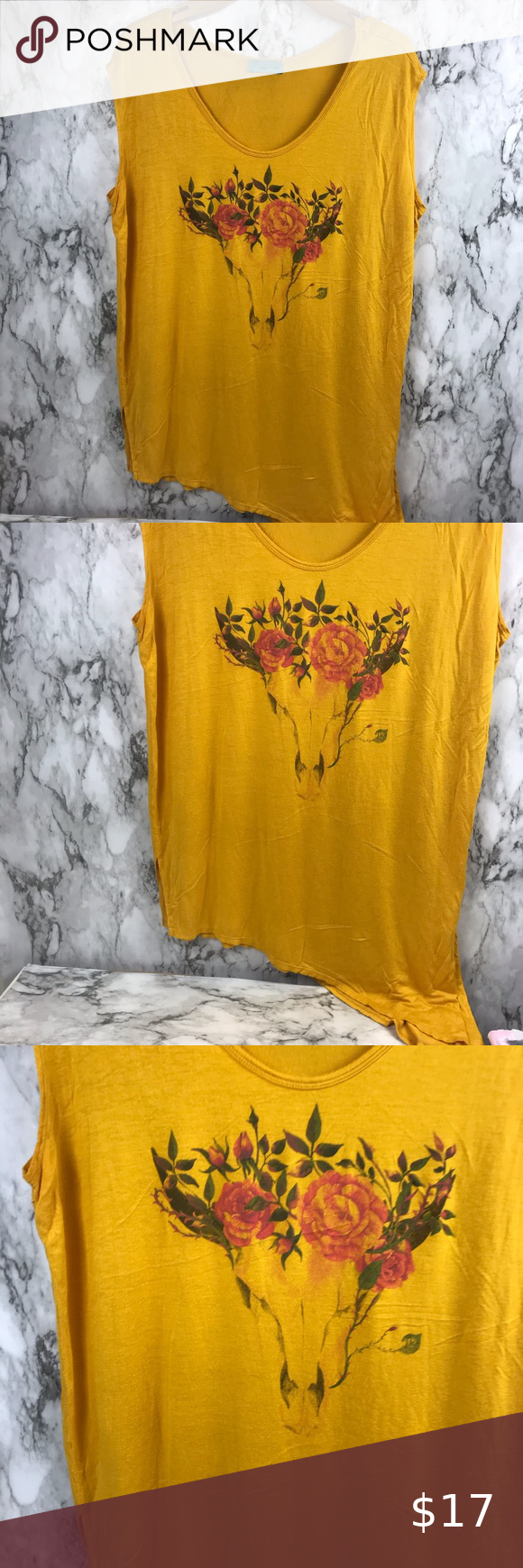 """Bull Skull Longhorn Blouse Mustard Size Large Size Large but oversized. Please check measurements Pit to pit 26"""" Length is 30"""" #003 Tops Blouses"""