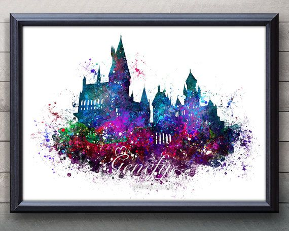 Harry Potter Hogwarts Castle Watercolor Art Poster Print Wall
