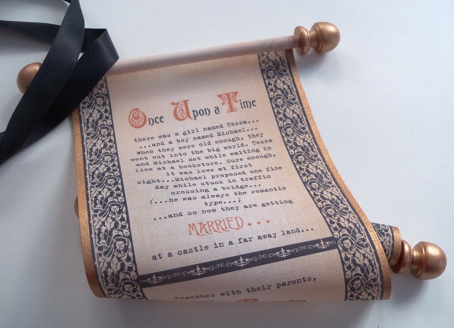 Medieval theme wedding invitation scrolls in copper and black on ...