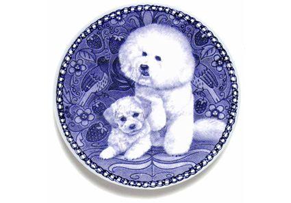 Bichon Frise Puppy Danish Blue Dog Plate Bichon Frise Puppy Bichon Frise Bichon