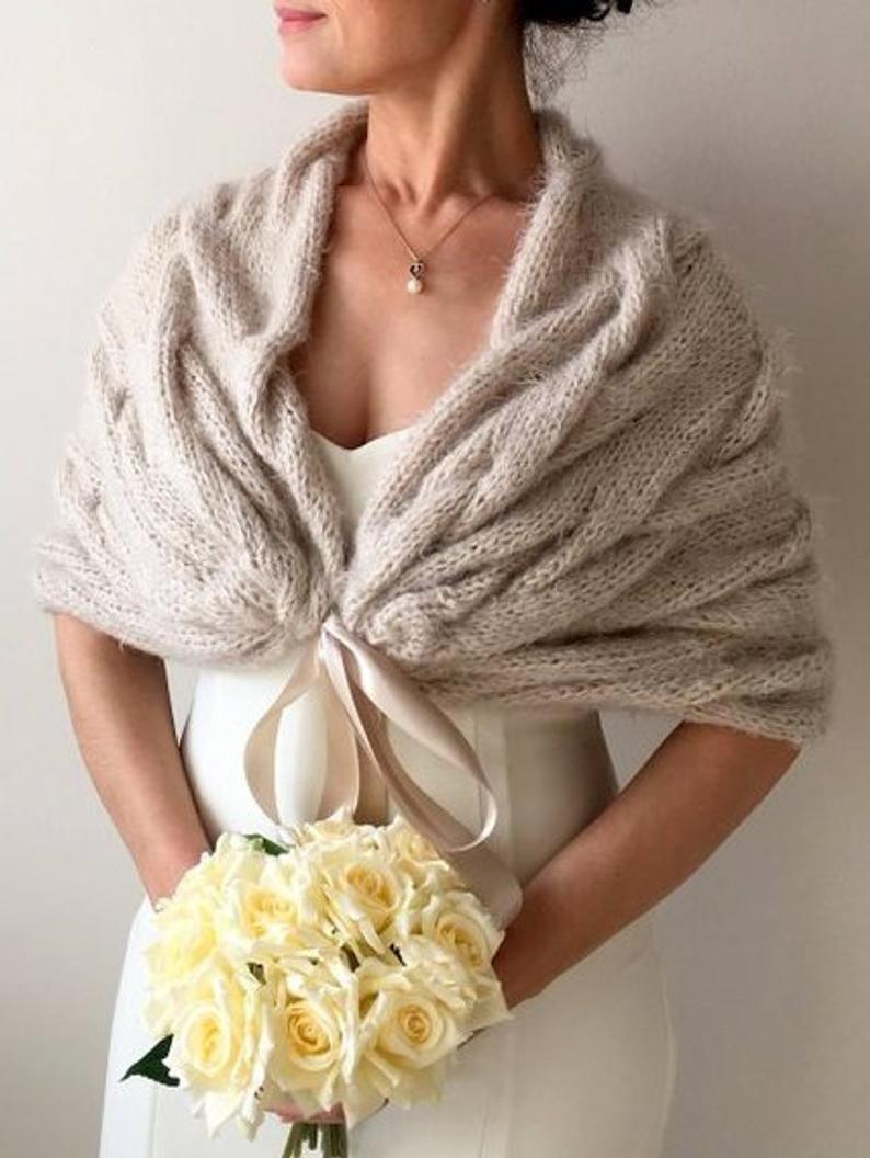 Wedding Shawl Bridal Wrap Bridal Cover Up Beige Shawl Etsy In 2020 Wedding Shawl Bridesmaid Shawl Bridal Cover Up