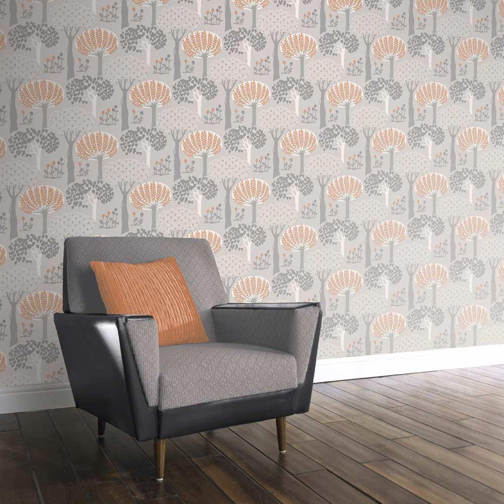 Arthouse Bernwood Orange Grey Wallpaper Extra Image