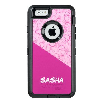 Hot pink hearts personalized custom name otterbox defender iphone hot pink hearts personalized custom name otterbox defender iphone case custom diy cyo personalize gift negle Images