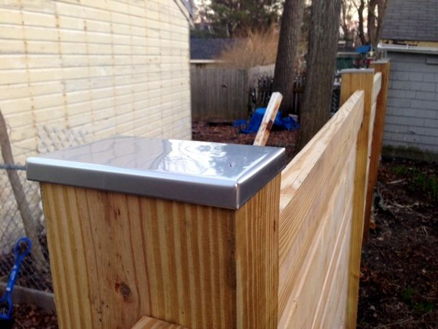 Low Profile Stainless Steel Post Caps Top This Natural Wood Fence Available At Https Www Sheetmetalcaps Com Collections P Post Cap Deck Posts Deck Post Caps