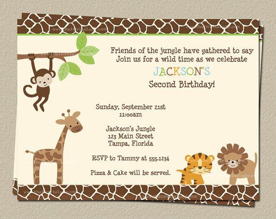 Jungle Birthday Invitations Safari Theme by TheInviteLadyShop – Jungle Party Invitation